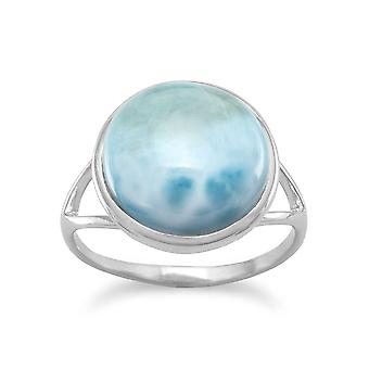 Rhod. P. 925 Sterling Silver 12mm Larimar Ring Band a Split Design Bottom Of Measures 1.5mm Jewelry Gifts for Women - Ri