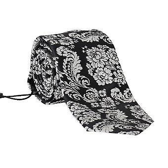 Dolce & Gabbana Black Silk Baroque Floral Print Tie