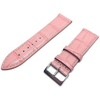 Krokodil Korn Uhr Armband rosa Chrom Schnalle Größe 12mm bis 26mm