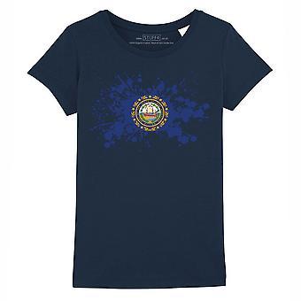 STUFF4 Girl's Round Neck T-Shirt/USA State/New Hampshire Flag Splat/Navy Blue