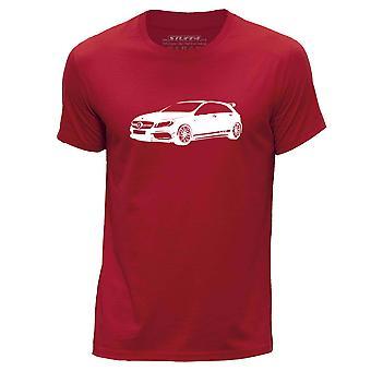 STUFF4 Men's Round Neck T-Shirt/Stencil Car Art / A45 AMG/Red