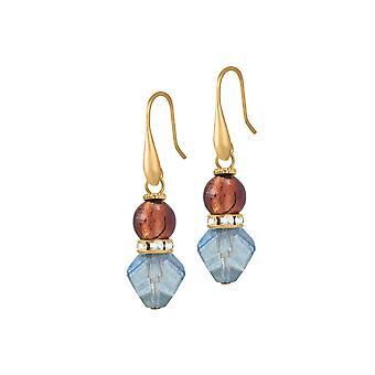 Eternal Collection Amalfi Amethyst And Aquamarine Venetian Murano Glass Pierced Earrings