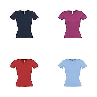 B & C Bayanlar / Bayan İzle Düz Kısa Kollu V Boyun T-Shirt