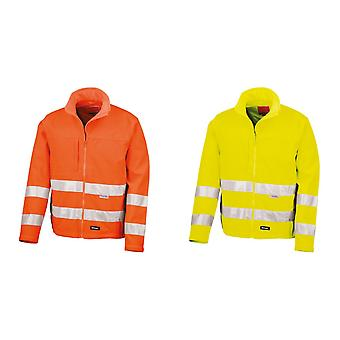 Result Core Mens High-Visibility Winter Blouson Softshell Jacket (Water Resistant & Windproof) (Pack of 2)