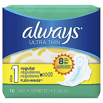 Always Ultra Thin Pads with Wings, Regular, 10 Count