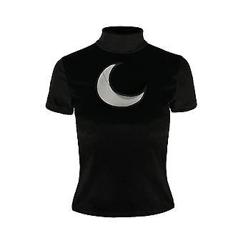 Restyle - crescent moon - black velvet turtle neck top
