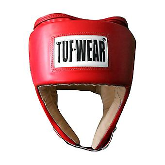 Tuf Wear PU Open Face Headguard with PU Suede Red