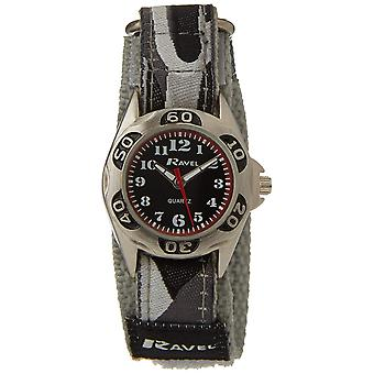 Ravel Grey Camouflage Fabric Strap Quartz Boys Watch R1507.04