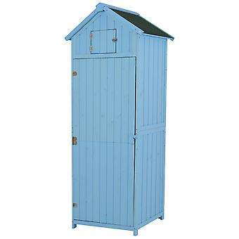 Outsunny Vertical Utility 3 Shelves Shed Wood Outdoor Garden Tool Storage Unit Storage Cabinet with Window77 x 54.2 x 179cm - Blue