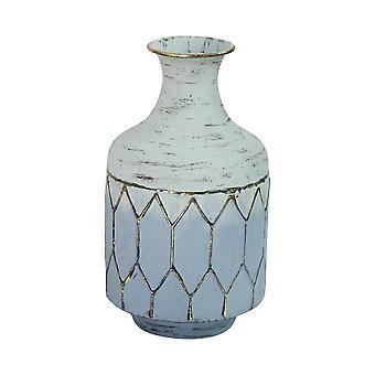Bohemian Blue Distressed Metal Table Vase