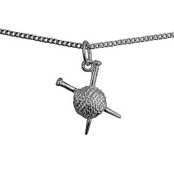 Silver 16x12mm Ball of Wool and Knitting Needles Pendant with a curb Chain 24 inches