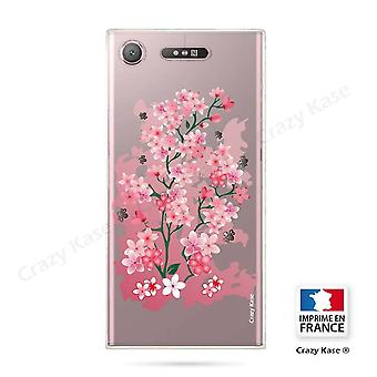Rumpf für Sony Xperia Xz1 Flexible Kirschblüte Muster