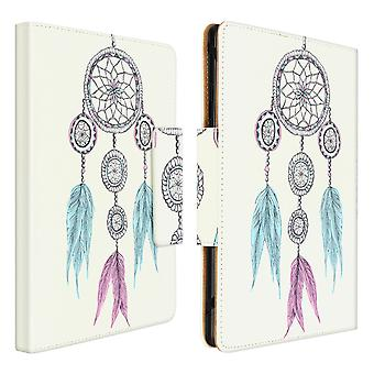 """Cover Tablets 10 and 11 """" with a Dream Catcher Pattern and card holder-White"""