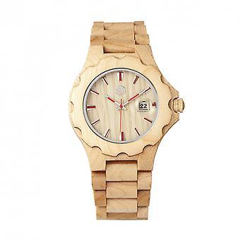 Pulsera de madera Gila reloj w/magnifica fecha - caqui/Tan de la tierra