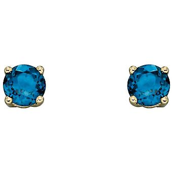 Elements Gold December Birthstone Stud Earrings - Blue/Gold
