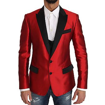 Dolce & Gabbana Red Black Silk 2 Piece Vest Blazer