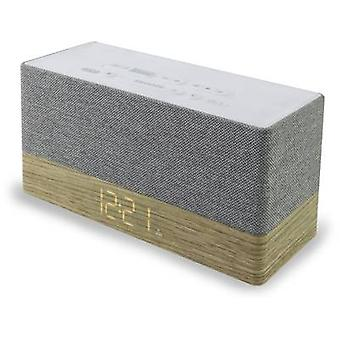 soundmaster UR620 Radio wekker FM AUX, Bluetooth Battery charger Wood, Grey