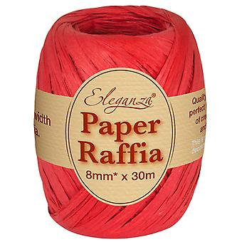 Red 8mm x 30m Paper Raffia Ribbon Roll - Recyclable & Biodegradable