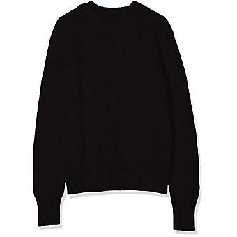 Meraki Women's Boxy Crew Neck Sweater, Black, EU M (US 8)