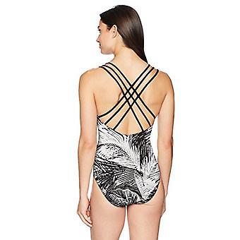 Brand - Coastal Blue Women's One Piece Swimsuit, Fern Spray, XS