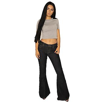 70s Style Denim Bell-Bottoms Wide Flared Jeans - Outline Stitching