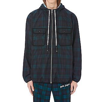 Palm Angels Pmeb008e20fab0011201 Men's Noir/vert Nylon Outerwear Veste
