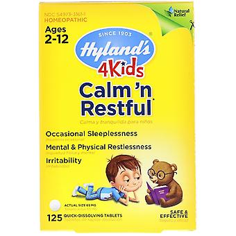 Hyland's, 4 Kids, Calm' n Restful, Leeftijden 2-12, 125 Quick-Dissolving Tablets