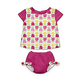 i play. Girls' Rashguard Set with Built-in Absorbent Swim Diaper, White Tulip...