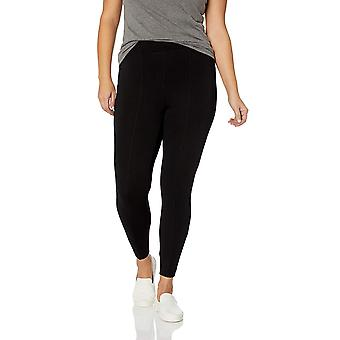 Daily Ritual Women's Plus Size Faux 5-Pocket Ponte Knit Legging, Black, 2X Re...