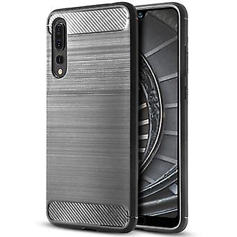Shell for Huawei P20 Pro Grey Carbon Fiber Armor Case Protection