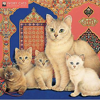 Ivory Cats door Lesley Anne Ivory Wall Calendar 2021 Art Calendar door Gemaakt door Flame Tree Studio