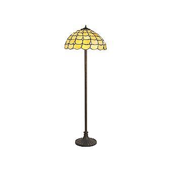 2 Lampe de plancher de conception de steppe claire E27 avec 40cm Tiffany Shade, Beige, Cristal clair, Laiton antique vieilli