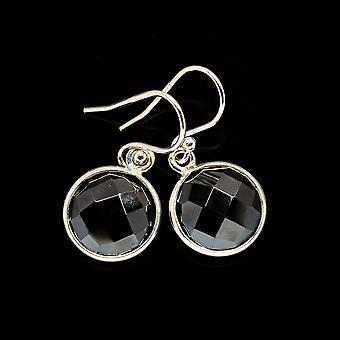 "Musta Onyx korvakorut 1"" (925 Sterling Hopea) - Käsintehty Boho Vintage korut EARR405950"