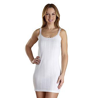 Slenderella VUW304 Mujer's Vedonis blanco algodón largo chaleco superior