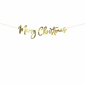 Merry Christmas Gold Banner - Hanging Christmas Decoration 1.5m
