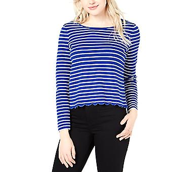 Maison Jules | Striped Scalloped Crossover Top