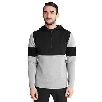 Calvin Klein Mens Yosemite Hooded Merino Blend Half Zip Warme Trui