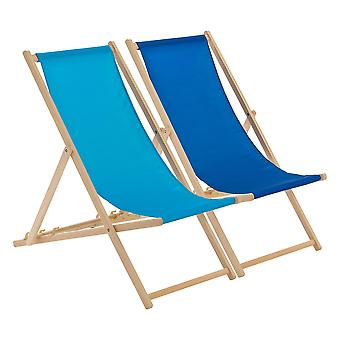 Traditional Adjustable Beach Garden Deck Chairs - Royal / Light Blue