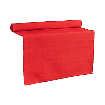 Nicola Spring Ribbed Rectangular Cotton Dining Table Runner - 183 x 48cm - Red