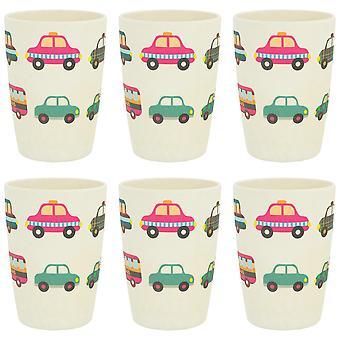 Tiny Dining Children's Bamboo Fibre Juice Cup - Voitures - Pack de 6