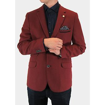 Red Textured Twill Blazer