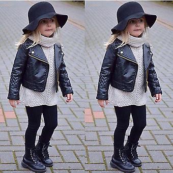 Vinterläder zipper kappa, kort jacka för flicka / pojke