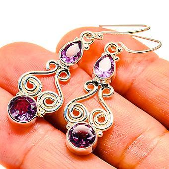"""Faceted Amethyst Earrings 1 3/4"""" (925 Sterling Silver)  - Handmade Boho Vintage Jewelry EARR407533"""