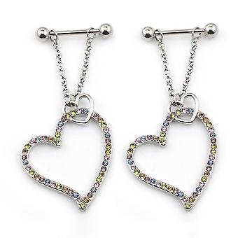 Pair of nipple barbel with heart dangle 14g