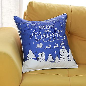 Printed Merry Christmas Decorative Throw Pillow Cover
