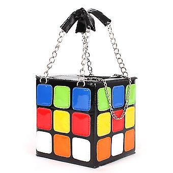 Pu Leather Fashion Casual Cube Shape Schoudertas, Koppeling, Stereotypes Klein