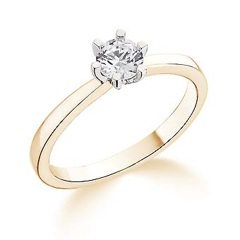 9K Yellow Gold 6 Claw Tiffany Style Setting 0.20Ct Certified Solitaire Diamond Engagement Ring
