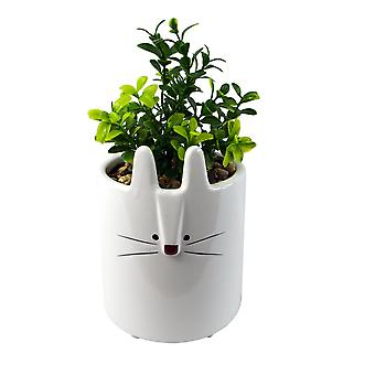 20cm Ceramic White Rabbit Planter with Artificial Foliage Plant