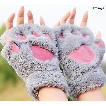 New Women Cute Cat Claw Paw Plush Mittens Warm Soft Short Fingerless Fluffy