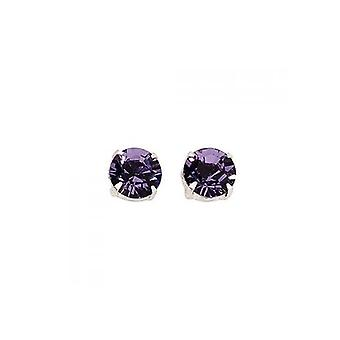 Sterling Silver Unisex Studs Earrings 2 Carat Swarovski Crystal - Amethyst Purple